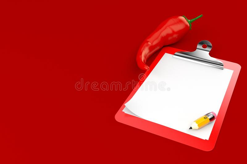 Gorąca papryka z pustym schowkiem ilustracja wektor