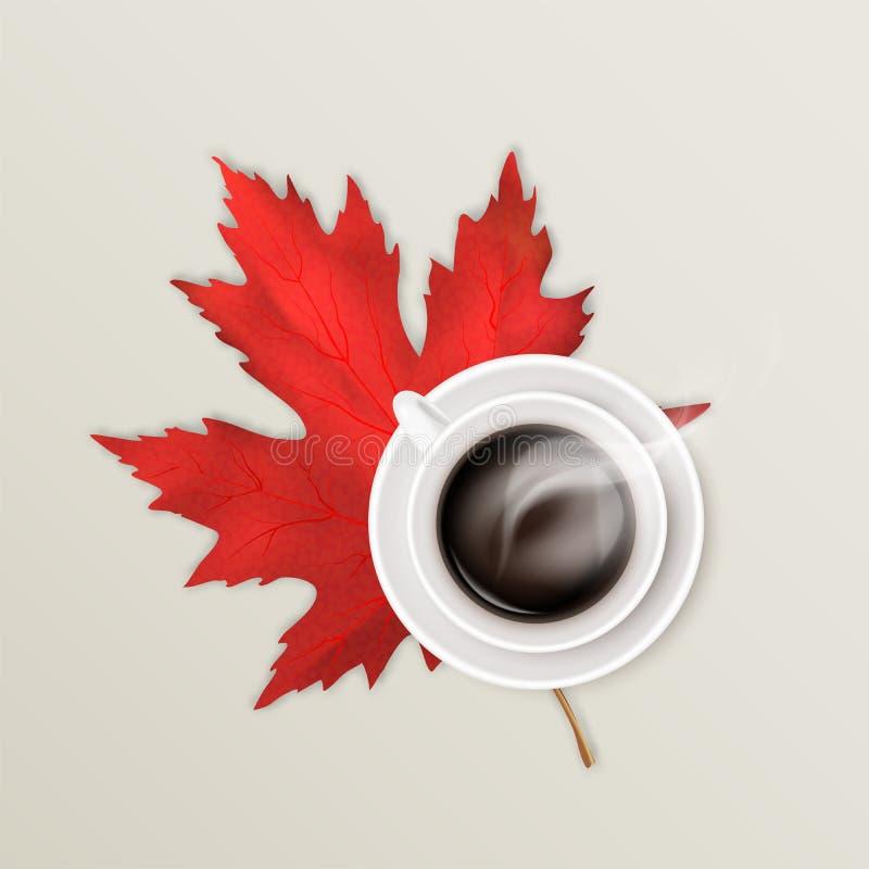 Gorąca parująca kawa w białej ceramicznej filiżance na spodeczku i jaskrawym czerwonym liściu klonowym jesienią zbliżenie kolor t royalty ilustracja