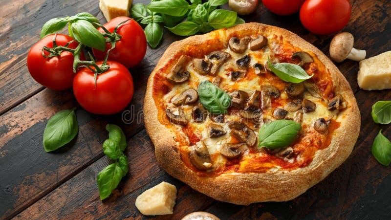 Gorąca Pieczarkowa pizza z basila, pomidorów, mozzarelli i parmesan serem na drewnianym stole, przygotowywaj?cy je?? Jarski jedze zdjęcia stock