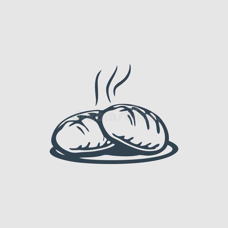 Gorąca piekarnia monograma projekta logo inspiracja ilustracja wektor