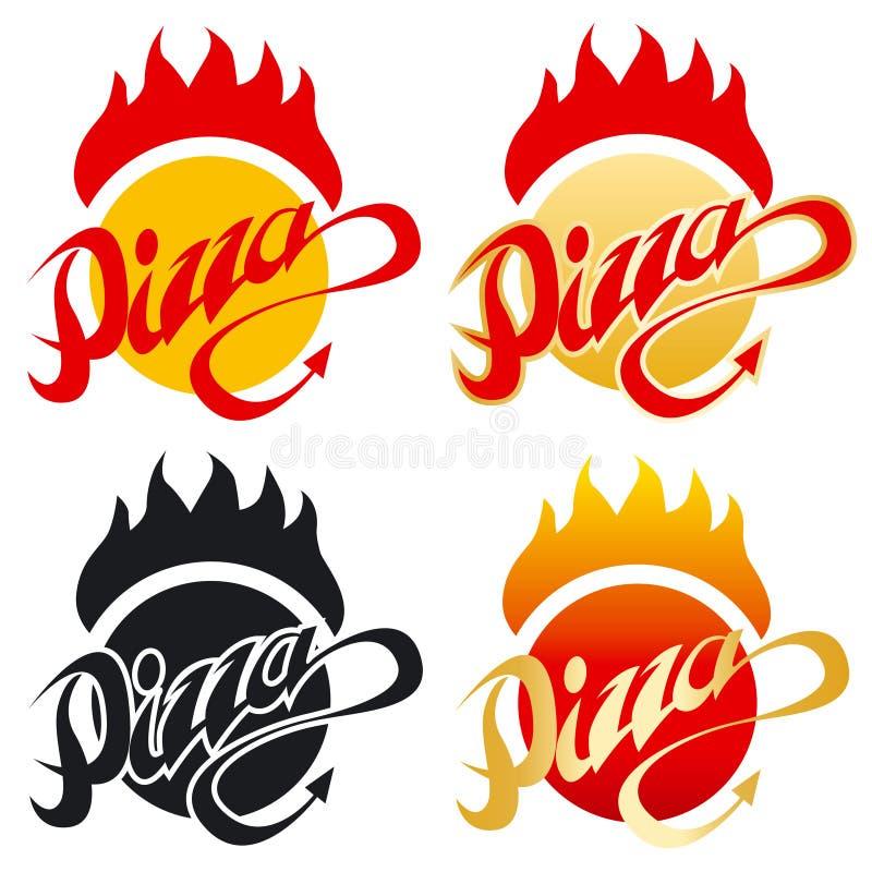 gorąca pizza logo royalty ilustracja