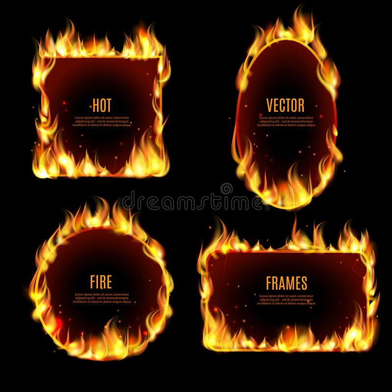 Gorąca pożarnicza płomień rama na czarnym tle ilustracja wektor