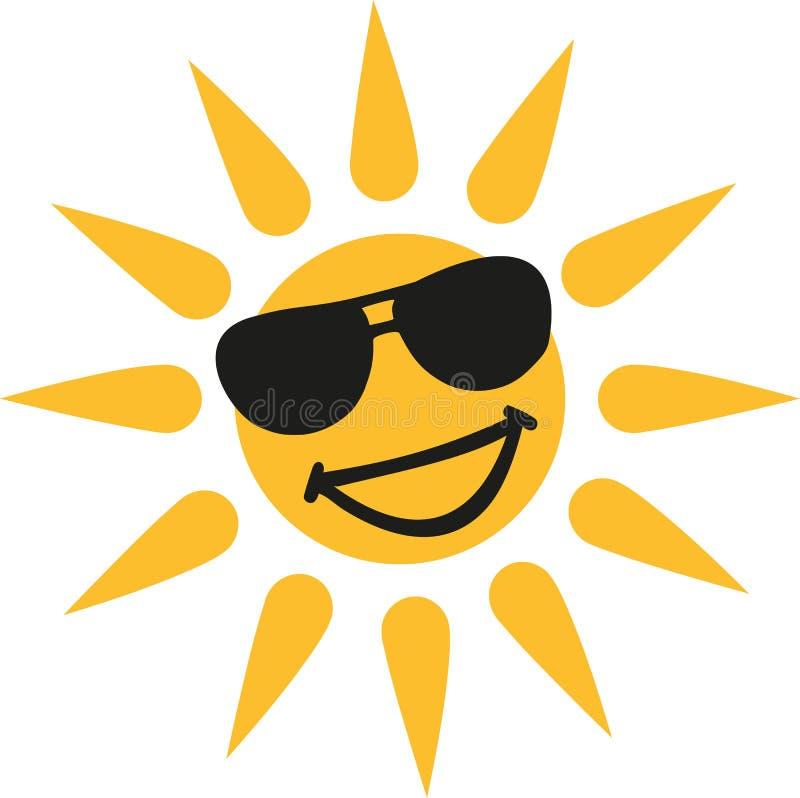 Gorąca pogoda - Uśmiechnięty słońce z słońc szkłami ilustracja wektor