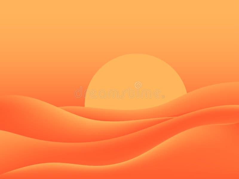 Gorąca pustynia, piekący słońce Krajobraz z piasek diunami wektor ilustracja wektor