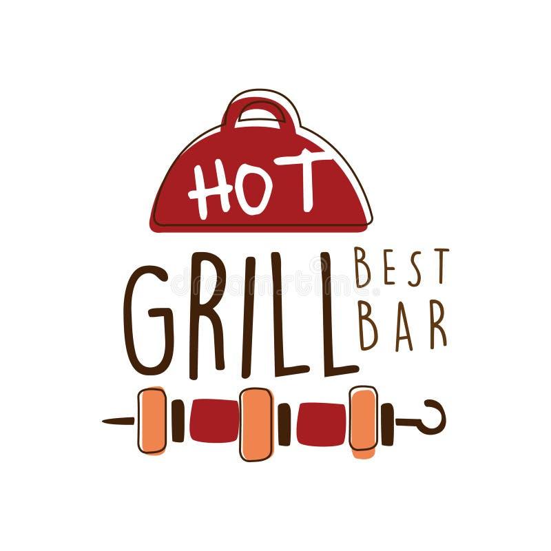 Gorąca ręka rysująca grilla best baru loga szablonu kolorowa wektorowa ilustracja ilustracja wektor