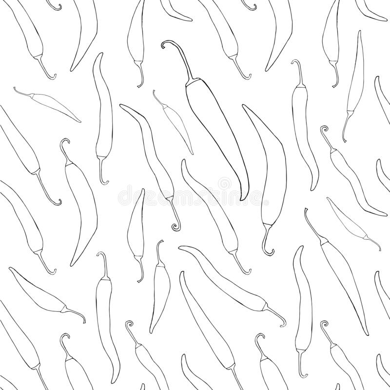 Gorąca ręka rysujący chili pieprzy monochromatycznego nakreślenia bezszwowy wzór ilustracji