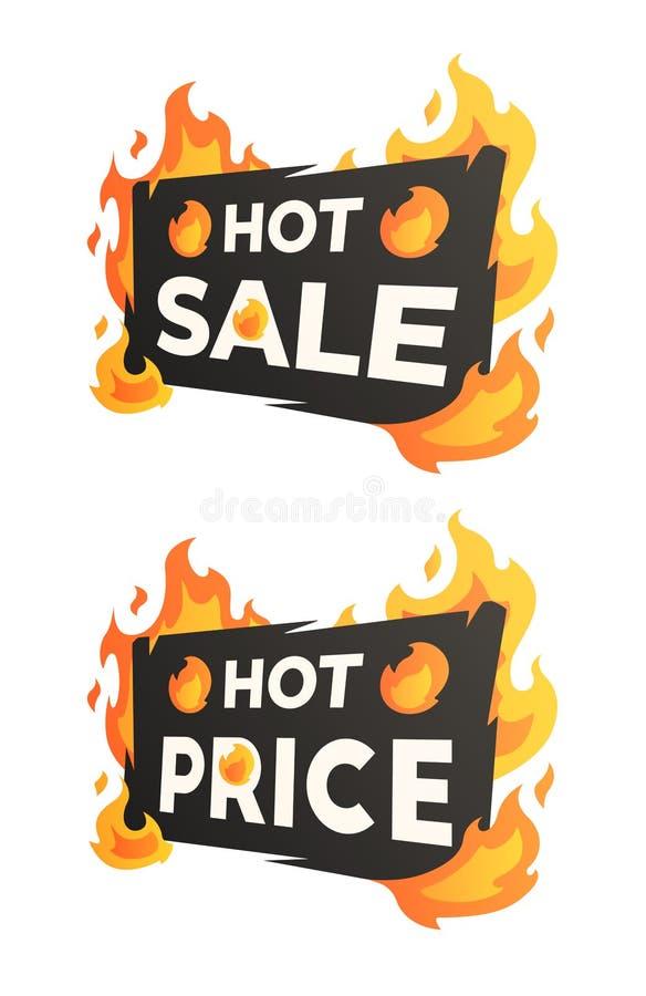 Gorąca sprzedaż i Gorące ceny palenia etykietki royalty ilustracja