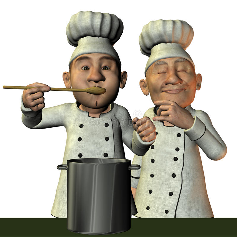 gorąca szef kuchni polewka royalty ilustracja