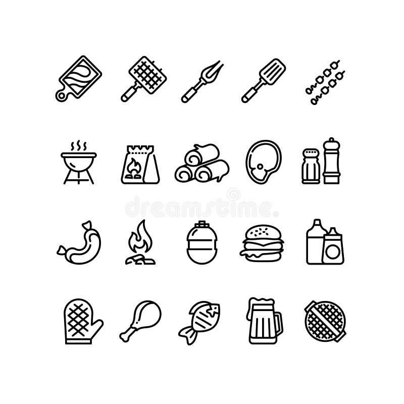 Gorące grilla i grilla kreskowe ikony Bbq plenerowego kuchennego wektoru odosobneni symbole ilustracja wektor