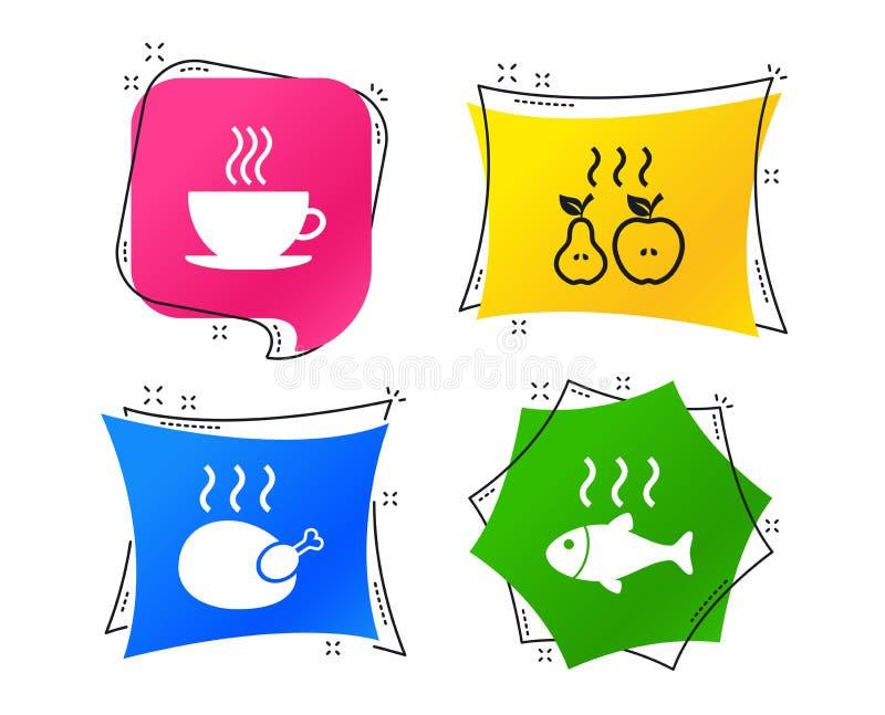 Gorące karmowe ikony Grill ryba i kurczaka symbole wektor ilustracji