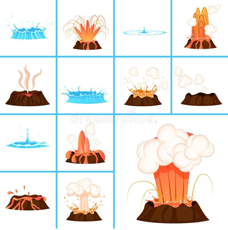 Gorące lawy i jasny wody pluśnięć ilustracje ilustracja wektor