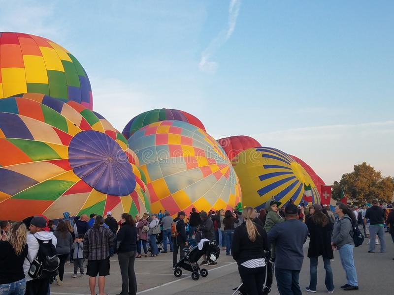 Gorące powietrze balonów ludzie zdjęcie stock