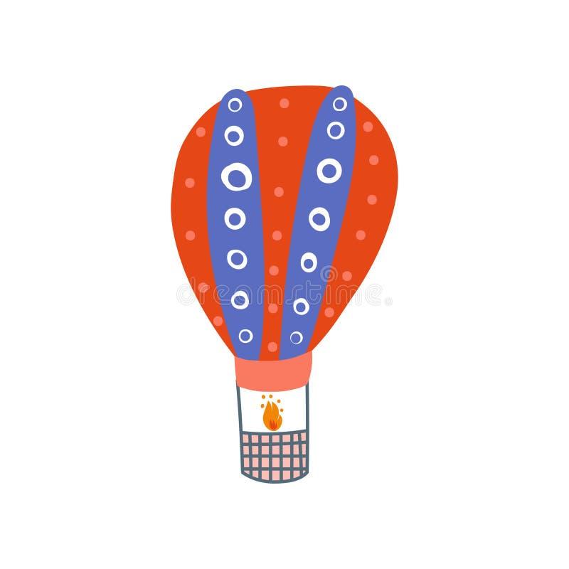Gorące Powietrze balon, lato podróży Lotniczego pojazdu kreskówki wektoru ilustracja royalty ilustracja