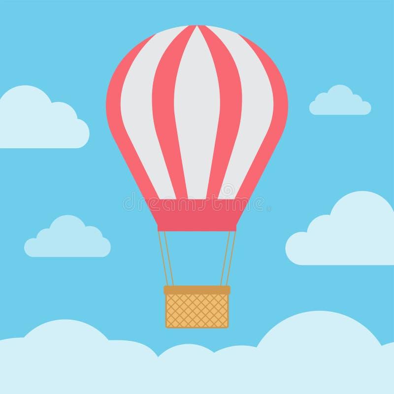 Gorące powietrze balon na niebieskiego nieba tle - wektor royalty ilustracja
