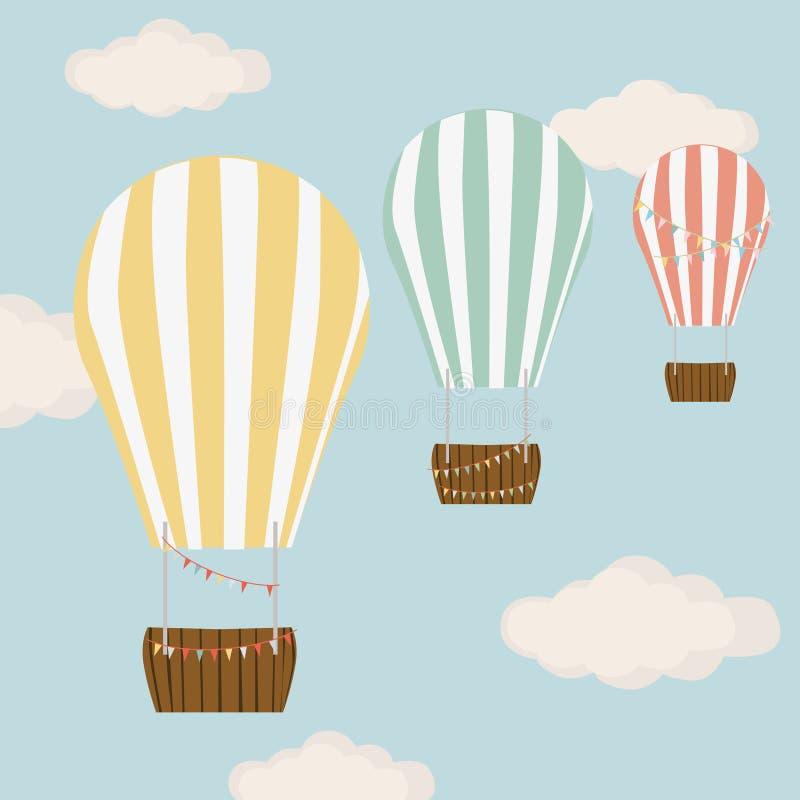 Gorące powietrze balon w błękicie z chmury nieba wektoru tłem ilustracji