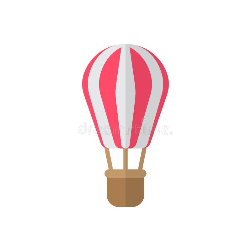 Gorące powietrze balonowa płaska ikona, wypełniający wektoru znak, kolorowy piktogram odizolowywający na bielu royalty ilustracja