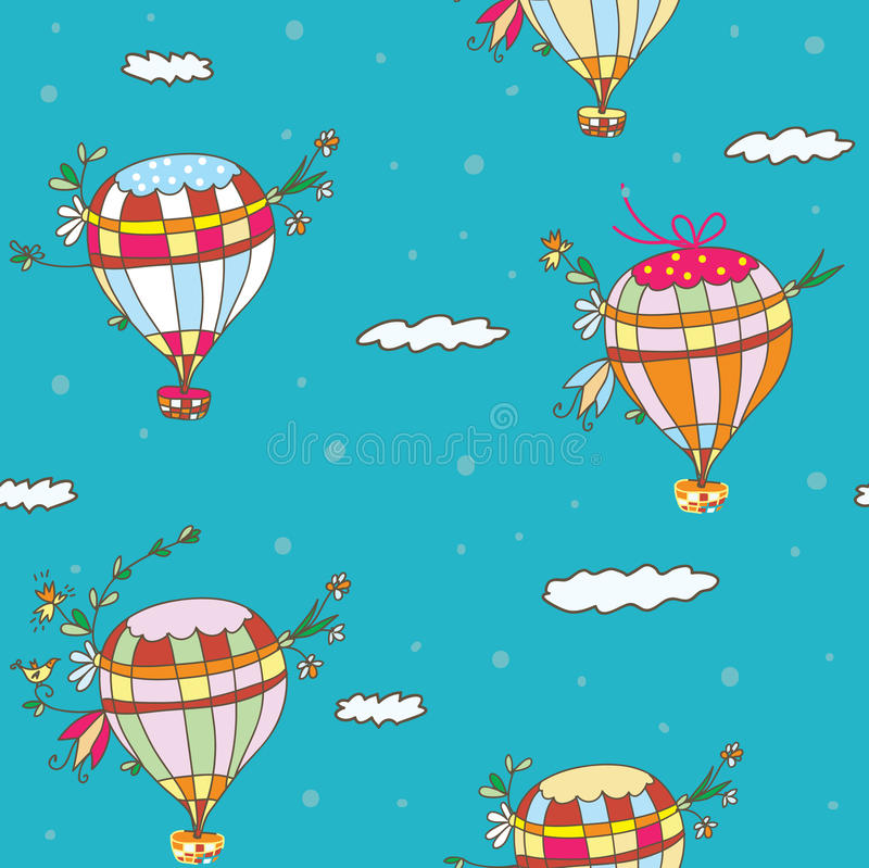 Gorące powietrze balonowy bezszwowy wzór ilustracji