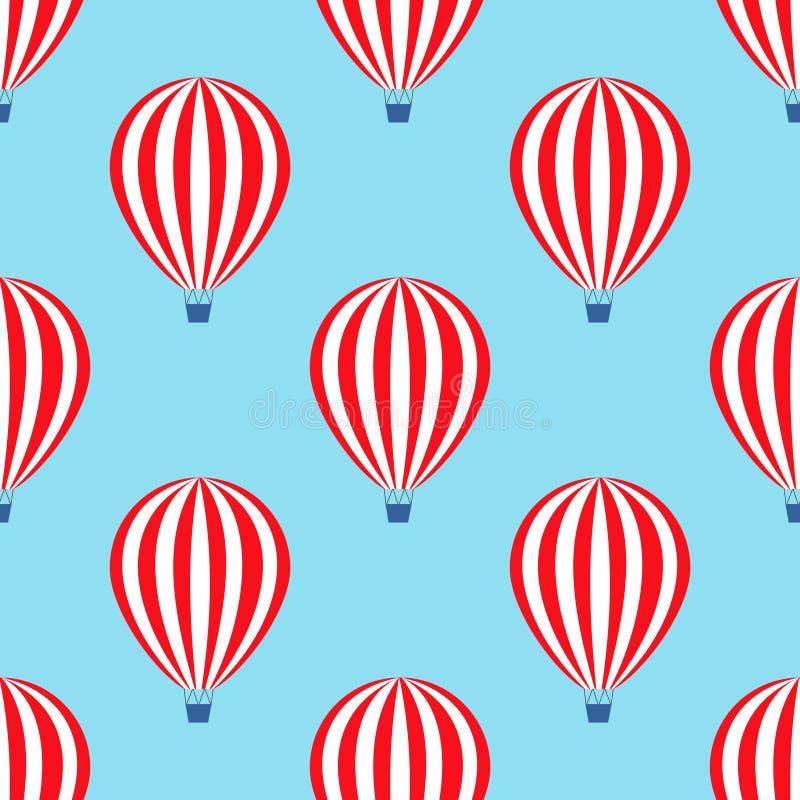 Gorące powietrze balonowy bezszwowy wzór Dziecko prysznic wektorowe ilustracje na niebieskiego nieba tle royalty ilustracja