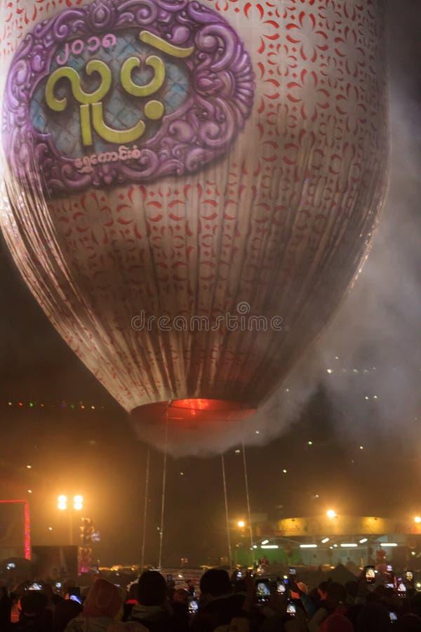 Gorące powietrze balonu festiwal w Taunggyi, blisko Inle jeziora, Myanmar obrazy royalty free
