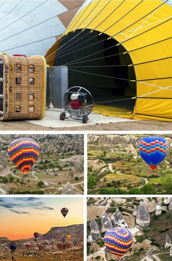 Gorące powietrze balonu kolaż Cappadocia Turcja zdjęcie stock