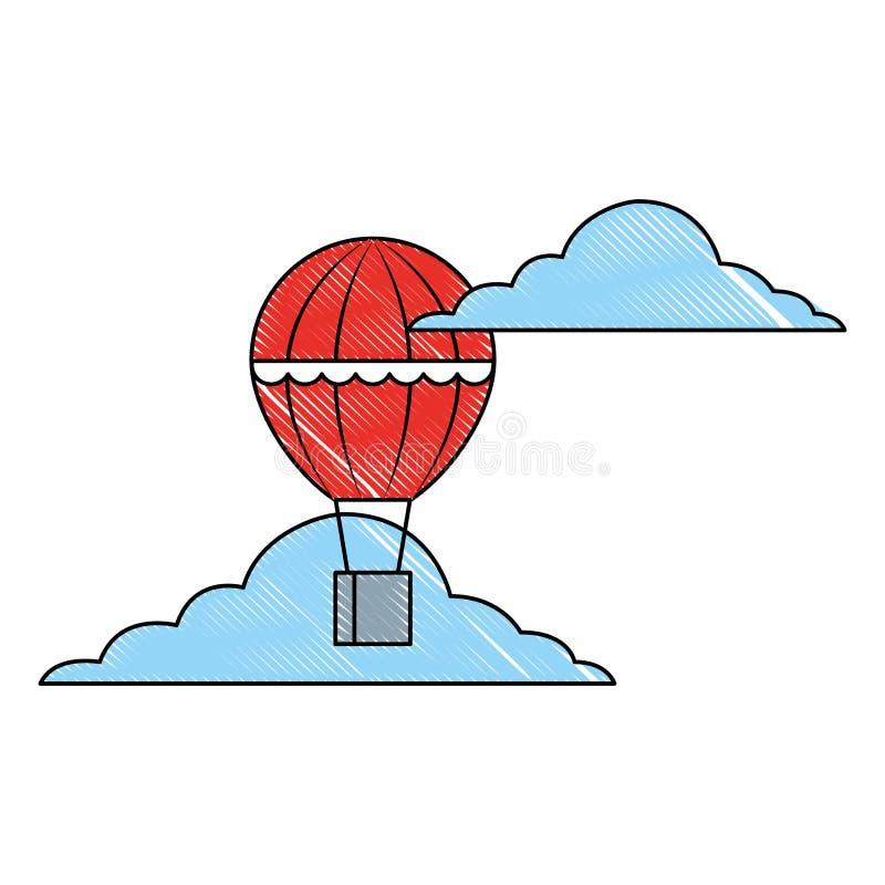 Gorące powietrze balonu koszykowy latanie w niebie ilustracji