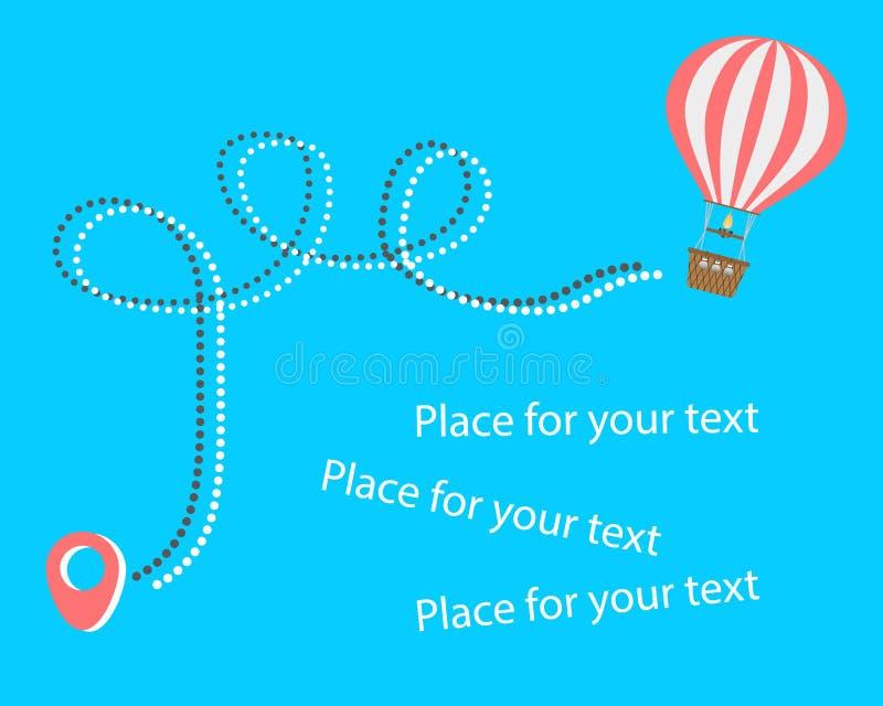 Gorące powietrze balonu podróż Powietrzny rozrywka dotyk niebo Urlopowy pojęcie, turystyka, podróż kropkujący punkty wektor royalty ilustracja