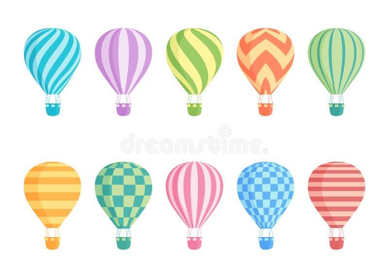 Gorące powietrze balonu wektoru odosobniony kolorowy set ilustracja wektor