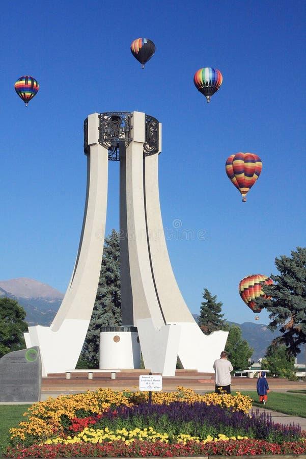 Gorące powietrze balony przy Kolorado Szybko się zwiększać klasyka w Kolorado Spr fotografia royalty free