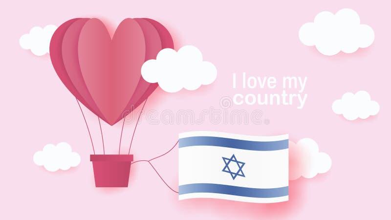 Gorące powietrze balony w kształcie kierowy latanie w chmurach z flagą państowową Izrael Papierowa sztuka i cięcie, origami styl  ilustracja wektor