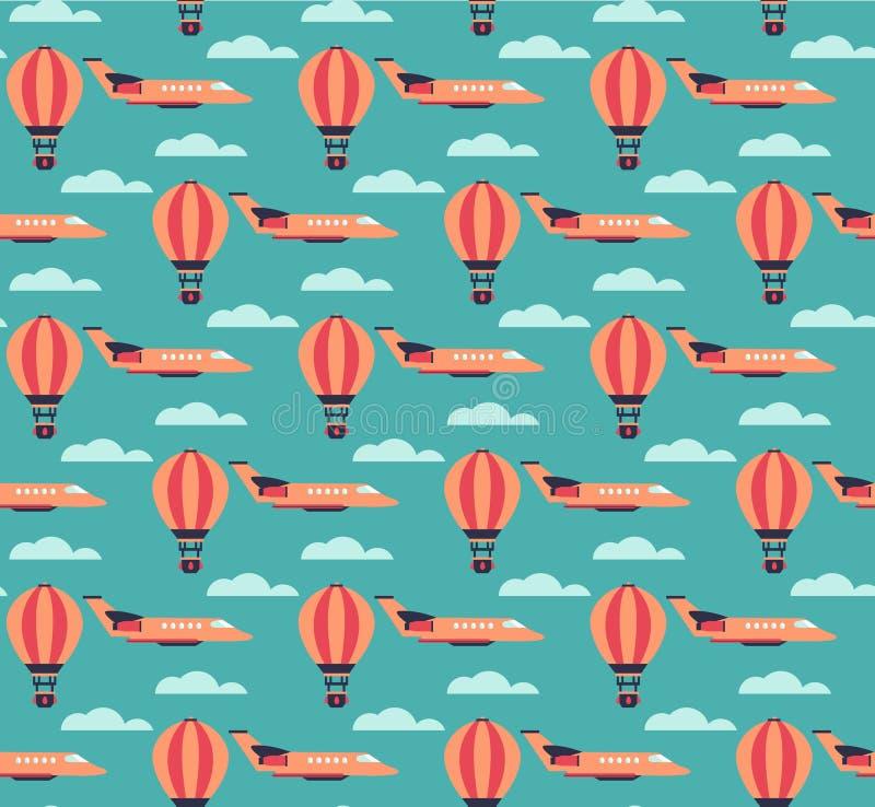 Gorące powietrze samolotów i balonów wzór royalty ilustracja