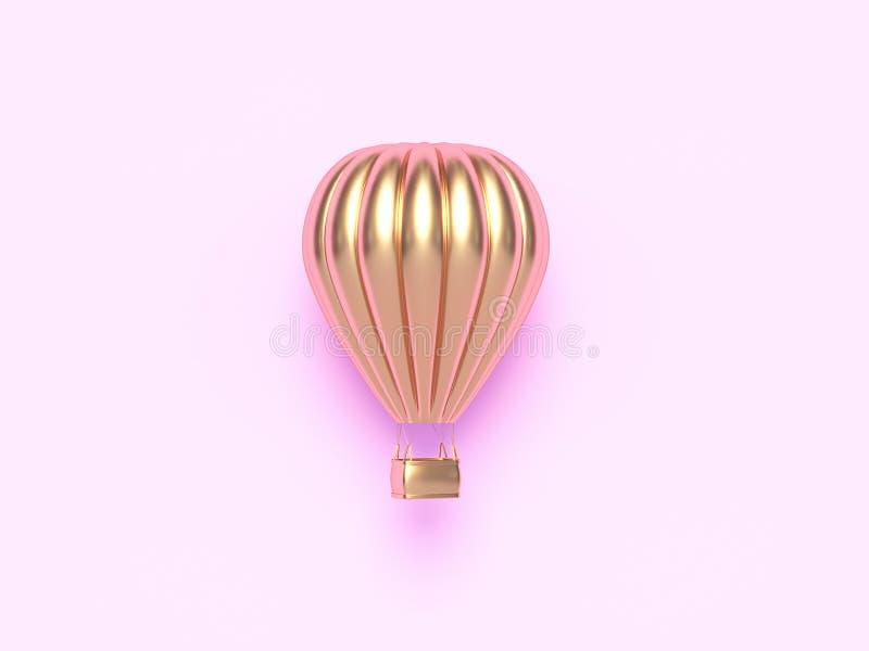 Gorące powietrze złoty, kolorowy aerostat odizolowywający na różowym tle balonowy, 3 d czynią royalty ilustracja