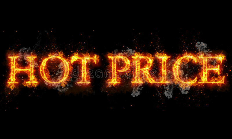 Gorącego ceny palenia słowa pisać tekst w płomieniach ilustracji