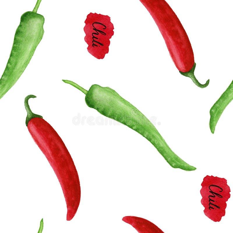 Gorącego chili pieprzu akwareli bezszwowy wzór ilustracji