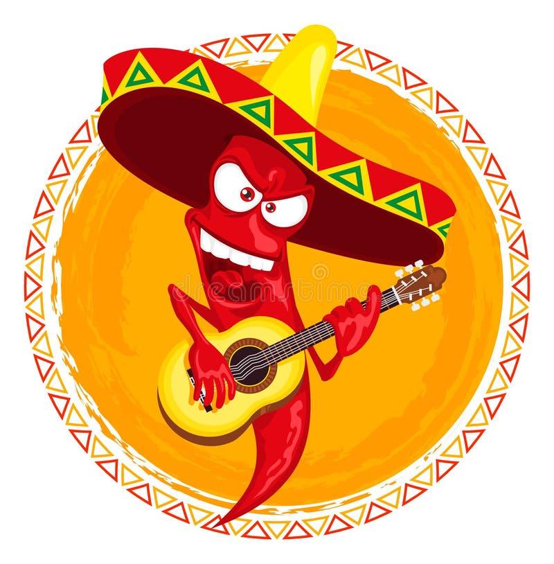 Gorącego chili pieprzu podżegaczka bawić się gitarę ilustracji