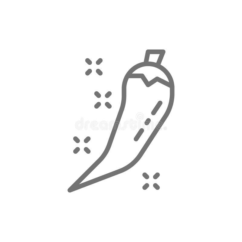 Gorącego chili pieprzu strąka linii ikona ilustracji