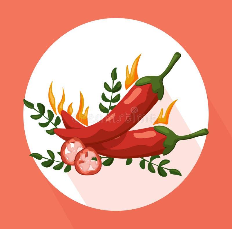 Gorącego Chili pieprzy ikona wyszczególniał wektorowego ilustracyjnego szablon royalty ilustracja