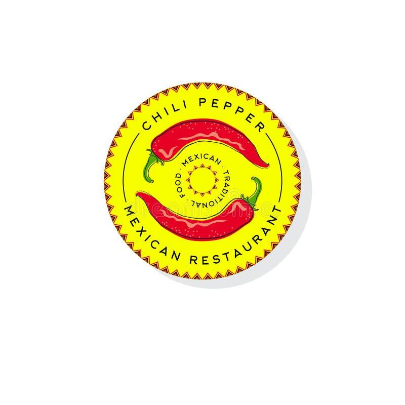 Gorącego Chili pieprzy logo Tradycyjny Meksykański karmowy emblemat ilustracja wektor
