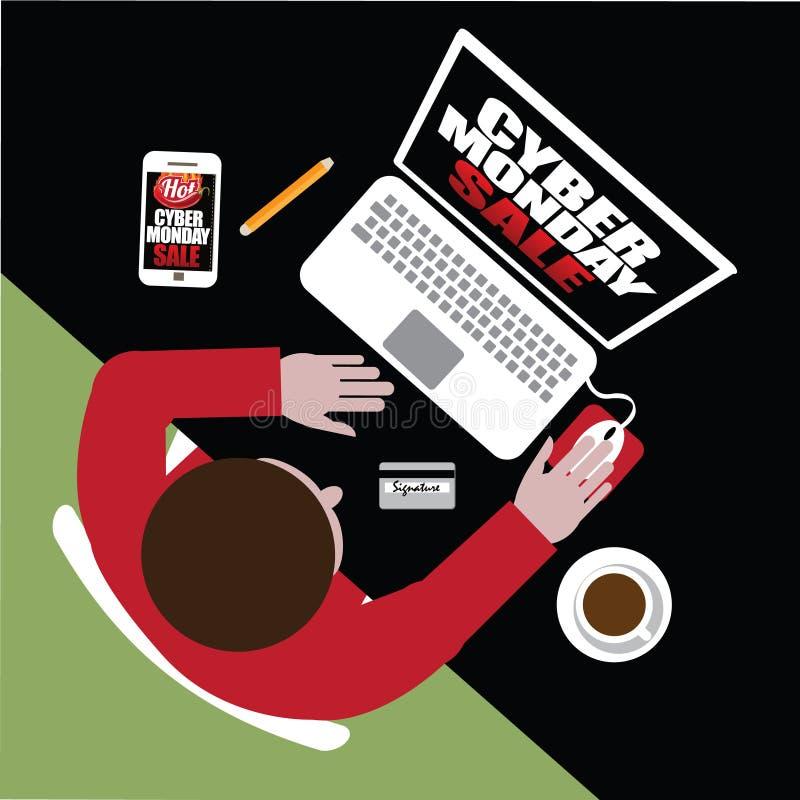 Gorącego Cyber Poniedziałku projekta płaski kupujący rozkazuje online royalty ilustracja