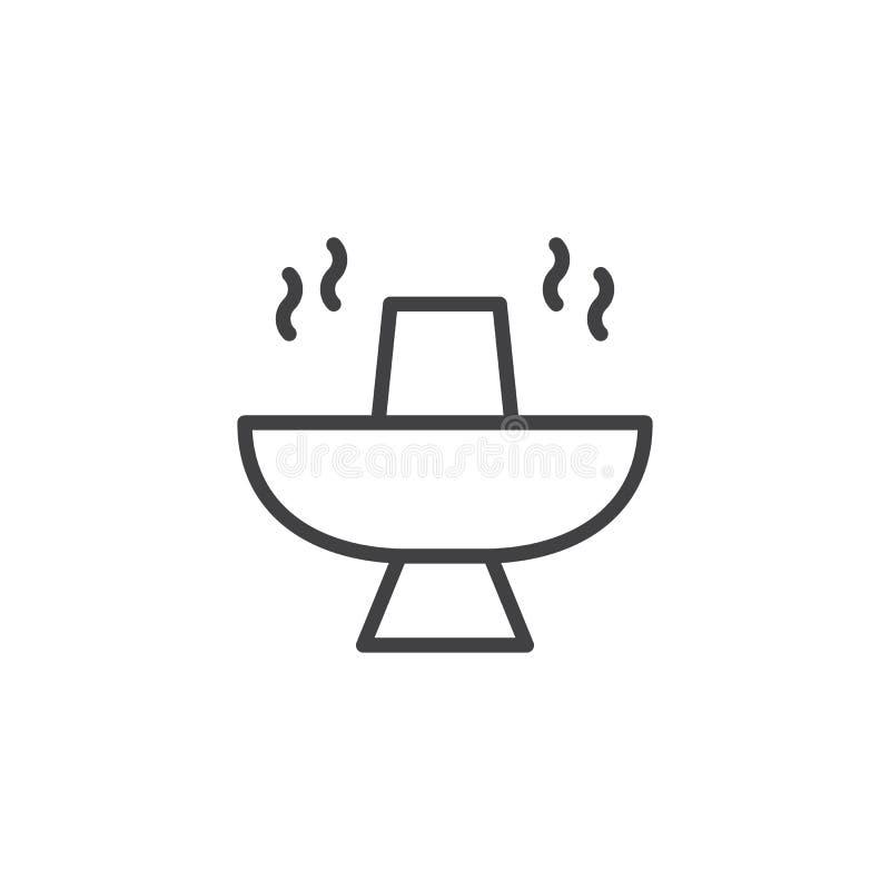 Gorącego garnka konturu karmowa ikona ilustracja wektor