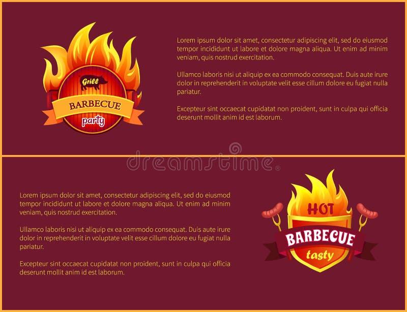 Gorącego grilla grilla znaka Frankfurter Smakowite kiełbasy ilustracja wektor