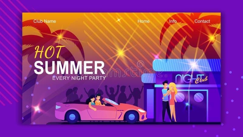 Gorącego lato klubu lądowania Partyjna strona Co Noc ilustracja wektor