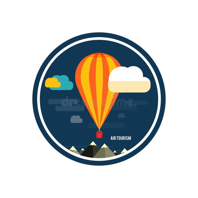 Gorącego powietrza balonowy latanie nad górą royalty ilustracja