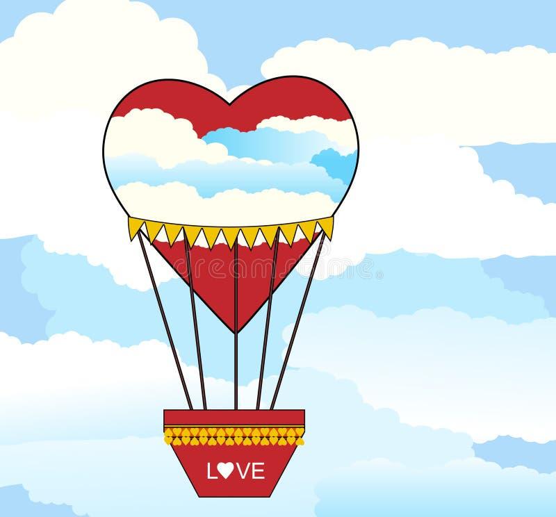 Gorącego Powietrza balonowy serce kształtujący royalty ilustracja
