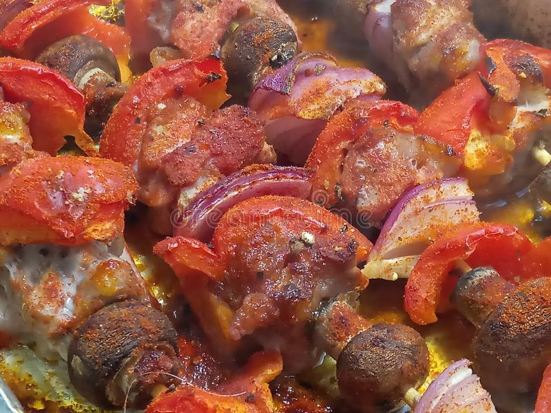 Gorącej crispy papryki wieprzowiny kraszeni skewers zdjęcie stock