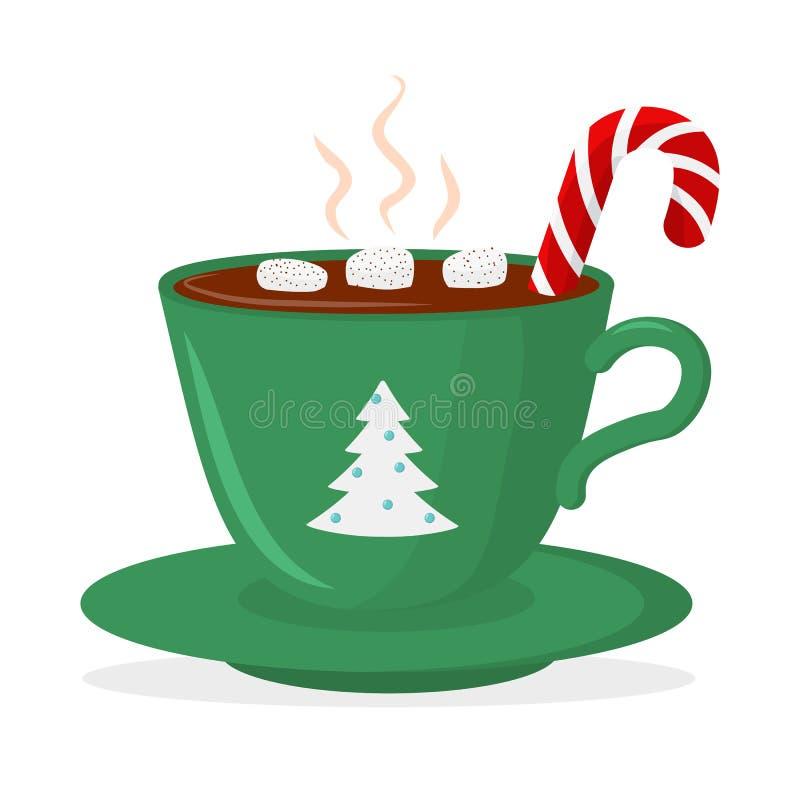 Gorącej czekolady filiżanka z marshmallow i lizakiem, zieleń z choinką Kartka bożonarodzeniowa projekta element odosobniony ilustracja wektor
