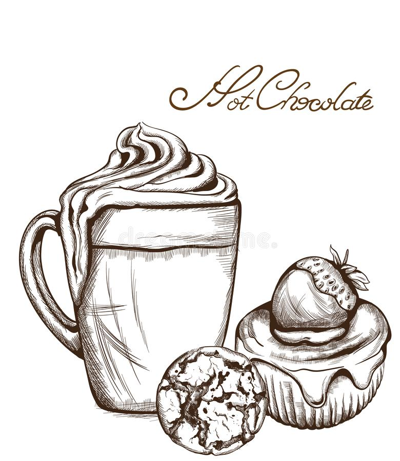 Gorącej czekolady i babeczki Wektorowa kreskowa sztuka projektuje Wyśmienicie cukierki ilustracje ilustracji
