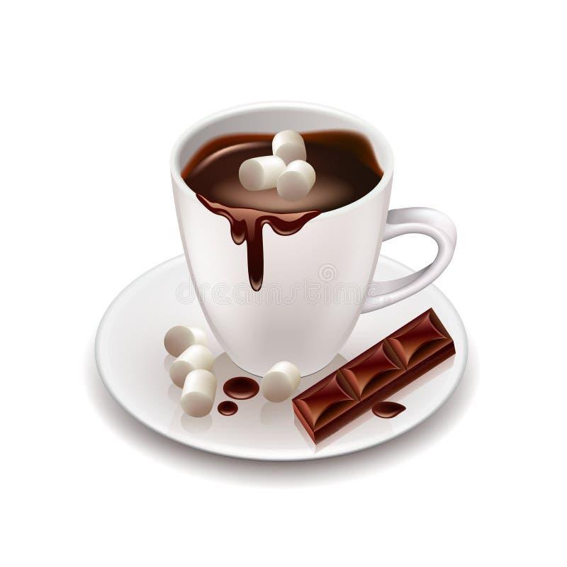 Gorącej czekolady napój odizolowywający na białym wektorze ilustracji