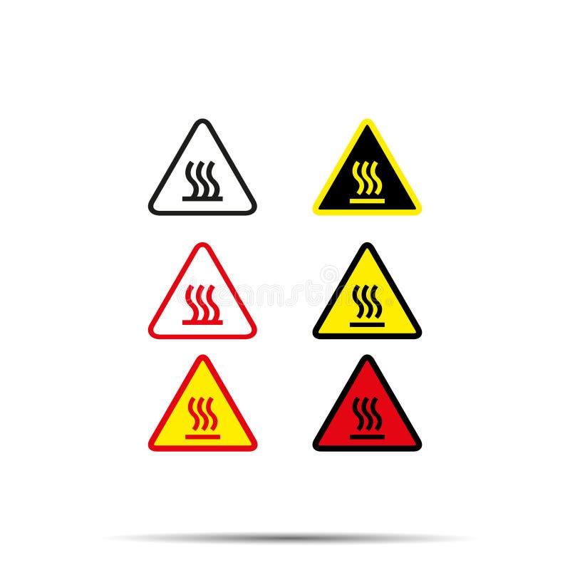 Gorącej ikony ostrożności ustalony ogień - wektorowa ilustracja ilustracji