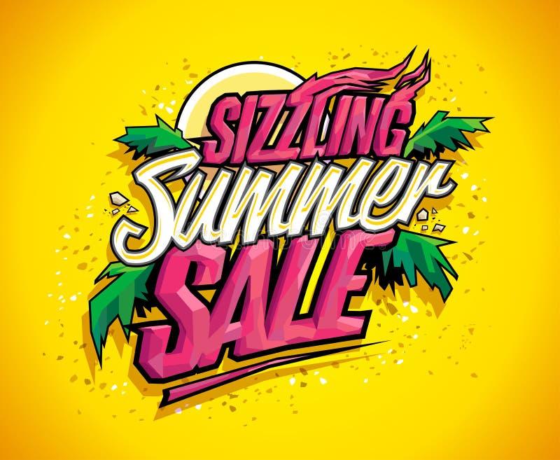 Gorącej lato sprzedaży wektorowy sztandar, gorący tropikalny projekta pojęcie ilustracja wektor
