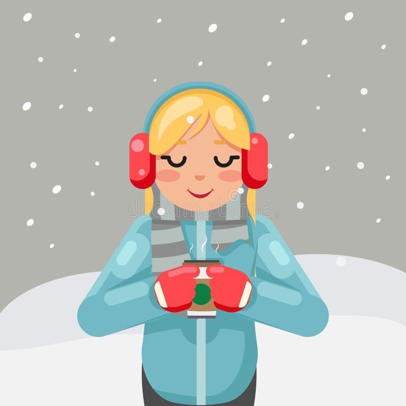 Gorącej napój zimy dziewczyny herbacianej kawowej ślicznej filiżanki projekta wektoru płaska ilustracja ilustracja wektor